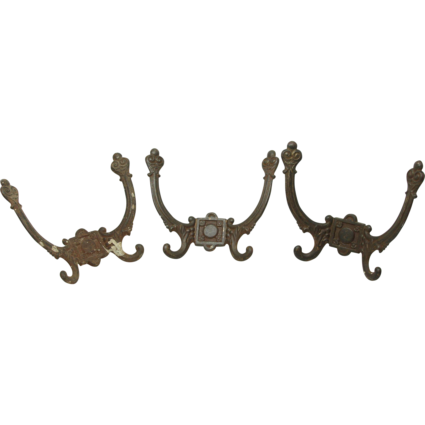 Set of three iron floral hooks