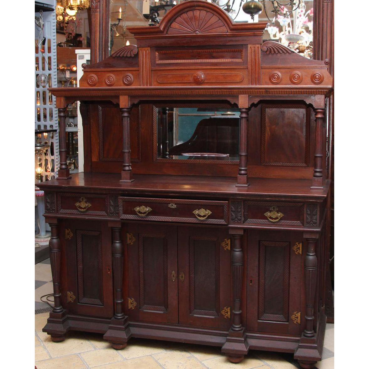 Elegant carved Eastlake sideboard