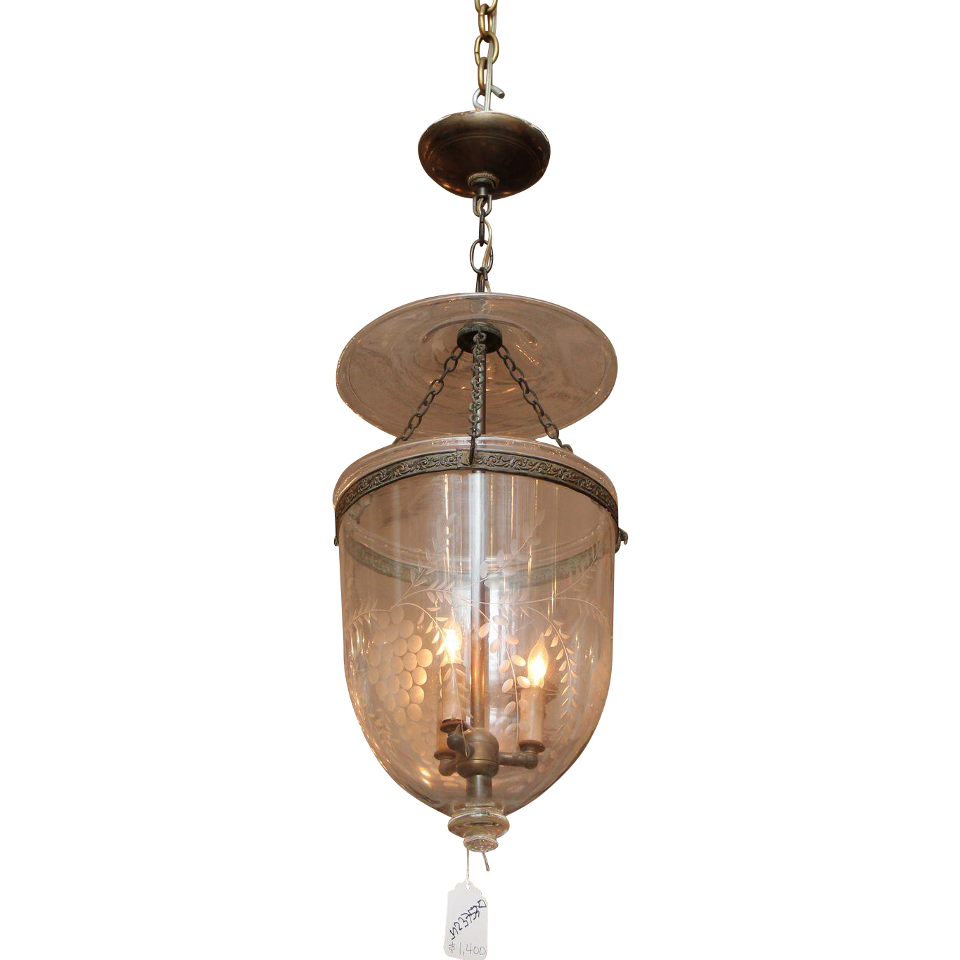 Etched clear glass bell jar pendant