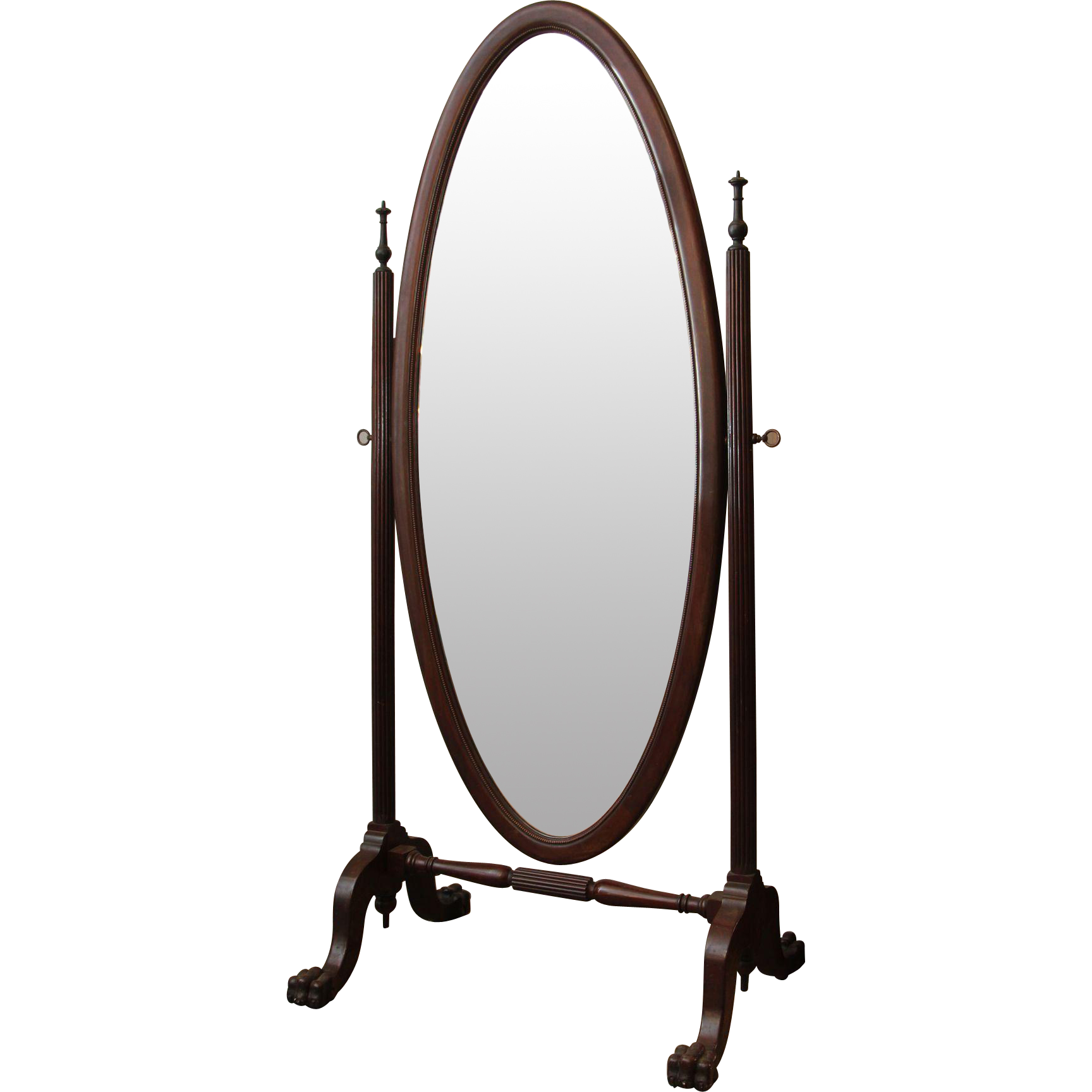 Cheval mirror with beveled glass and claw feet