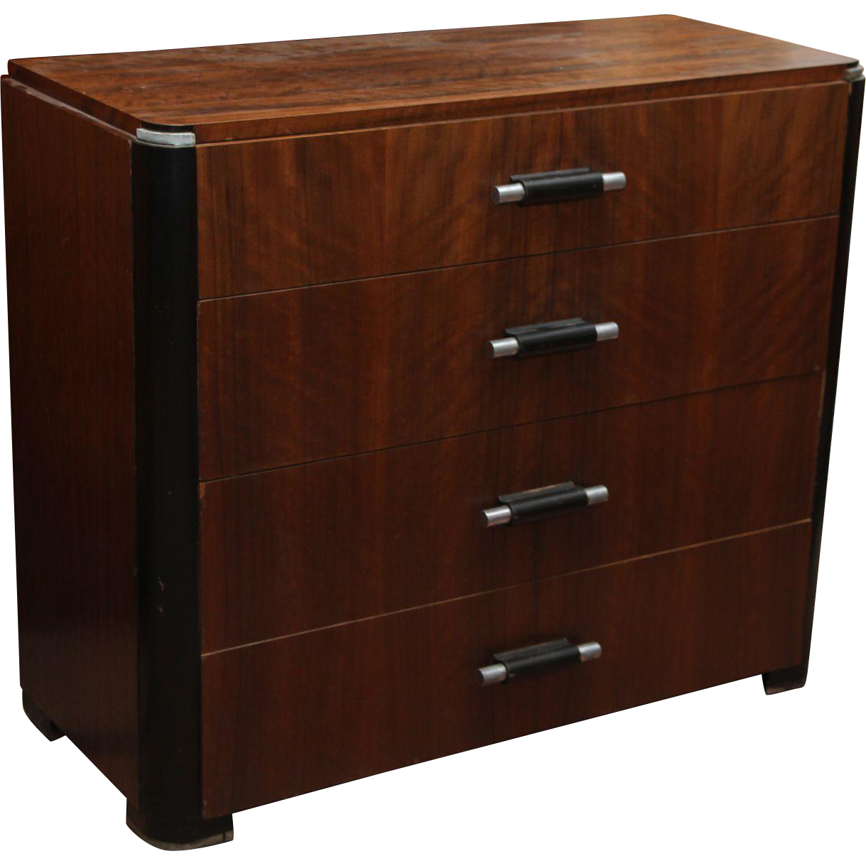 Art Deco flame mahogany dresser with dark wood accents