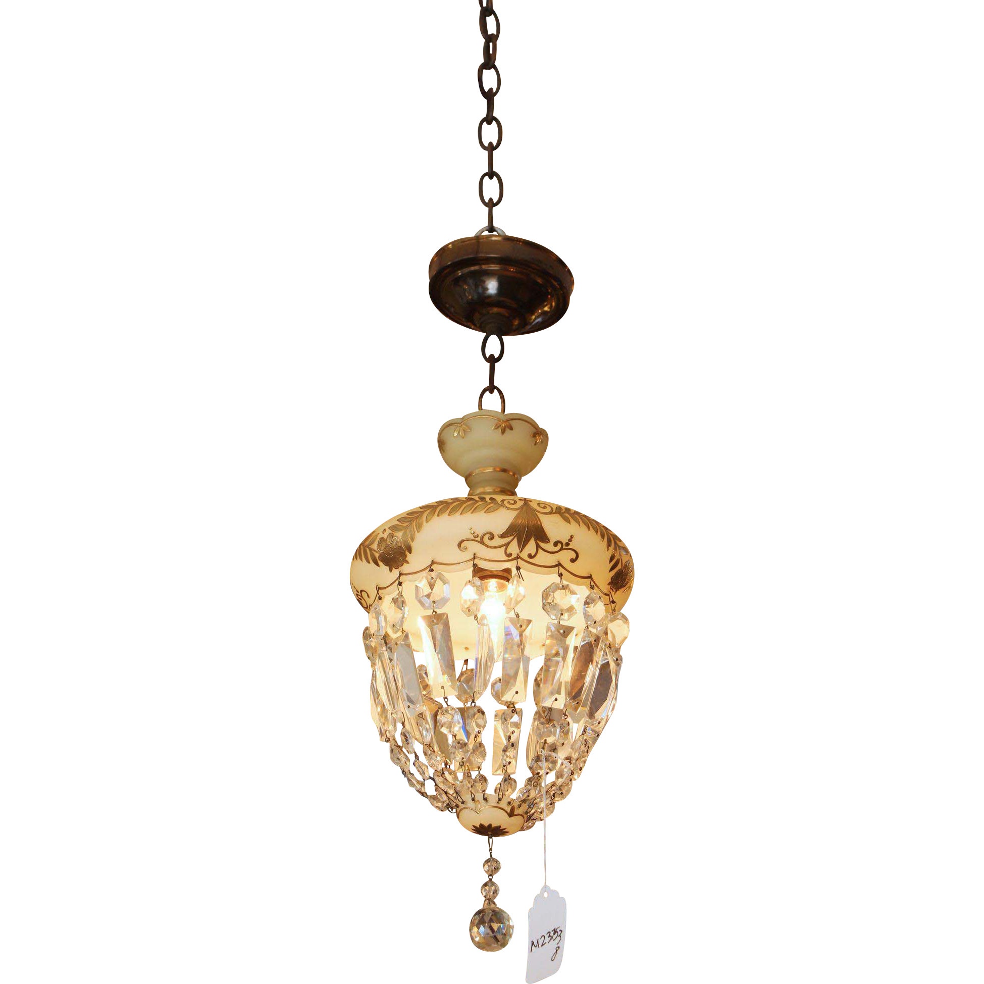 Victorian crystal & painted glass basket light