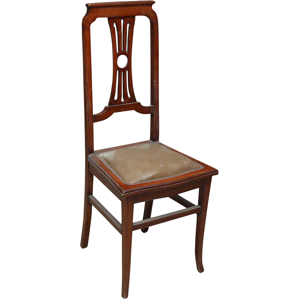 Set of tall lyre back wood dining chairs with leather seat