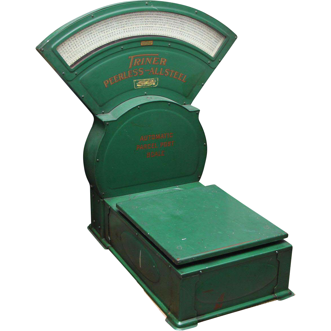 Vintage Triner Peerless All Steel green postage scale