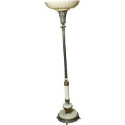 Art Nouveau torchiere floor lamp with marble base