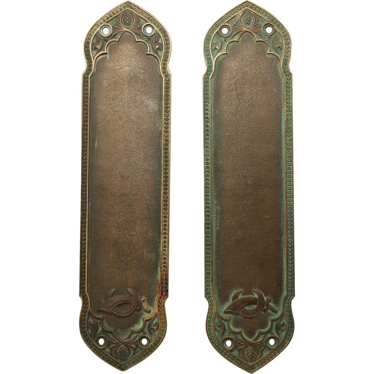 Pair of bronze Yale ornate push plates