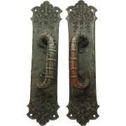 Pair of bronze ornate Columbian style door pulls