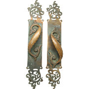 Pair of bronze cutout door pulls