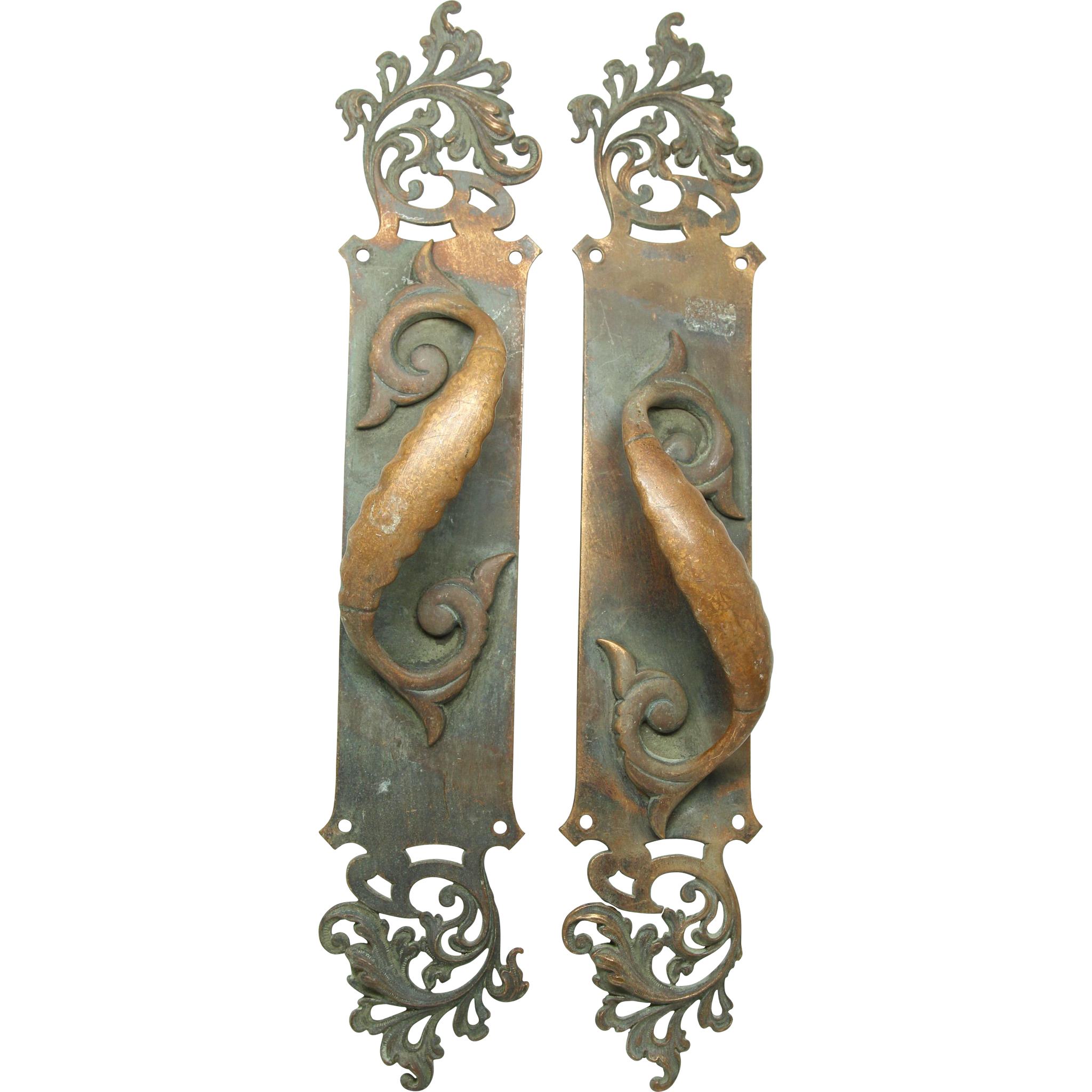 Pair of bronze cutout door pulls