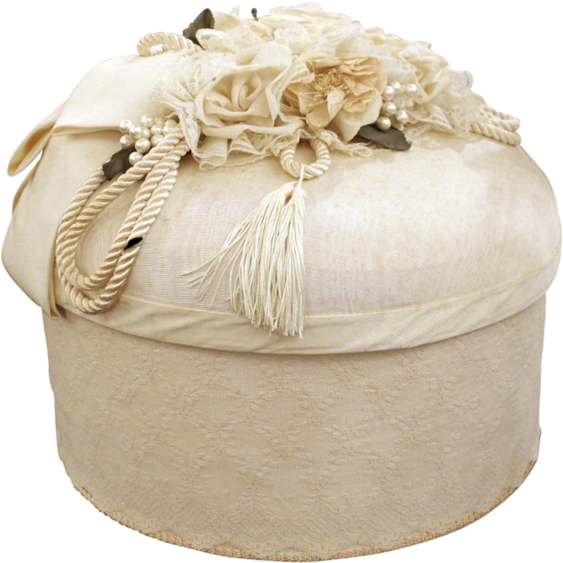 White lace vintage wedding hat box