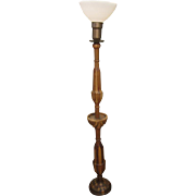 Mixed hardwood floor lamp with glass shade
