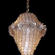 Mid century capiz chandelier