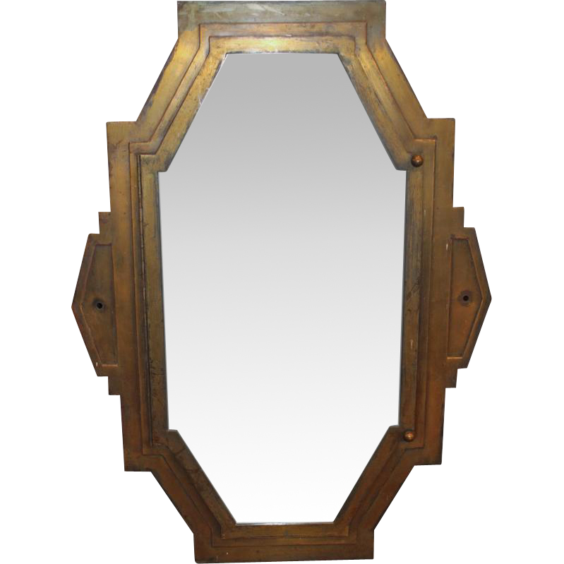 1920s Art Deco bronze mirror