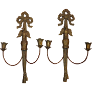 French bronze candle stick sconces