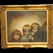 Ornately framed portrait of children