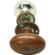 Oval bronze & round mercury glass doorknob set