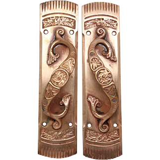 Pair of bronze matching door handles