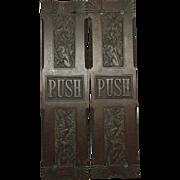 Pair of ornate bronze push plates