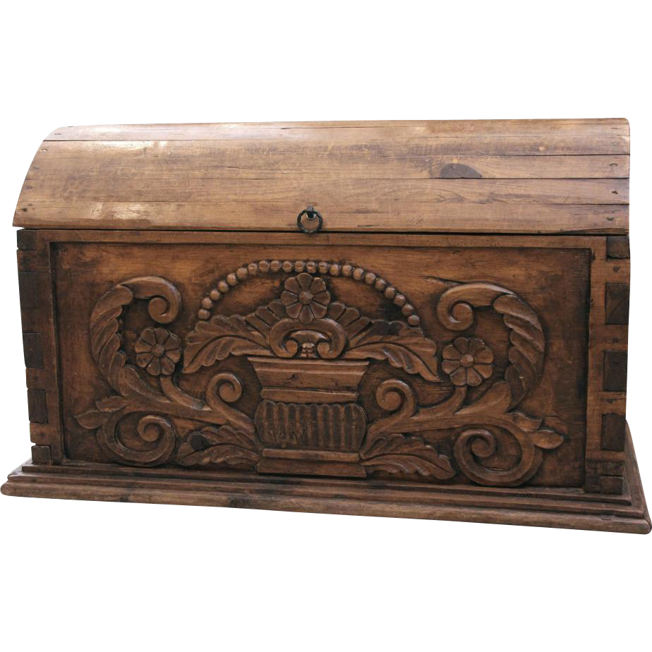 Arched top highly carved decorative trunk