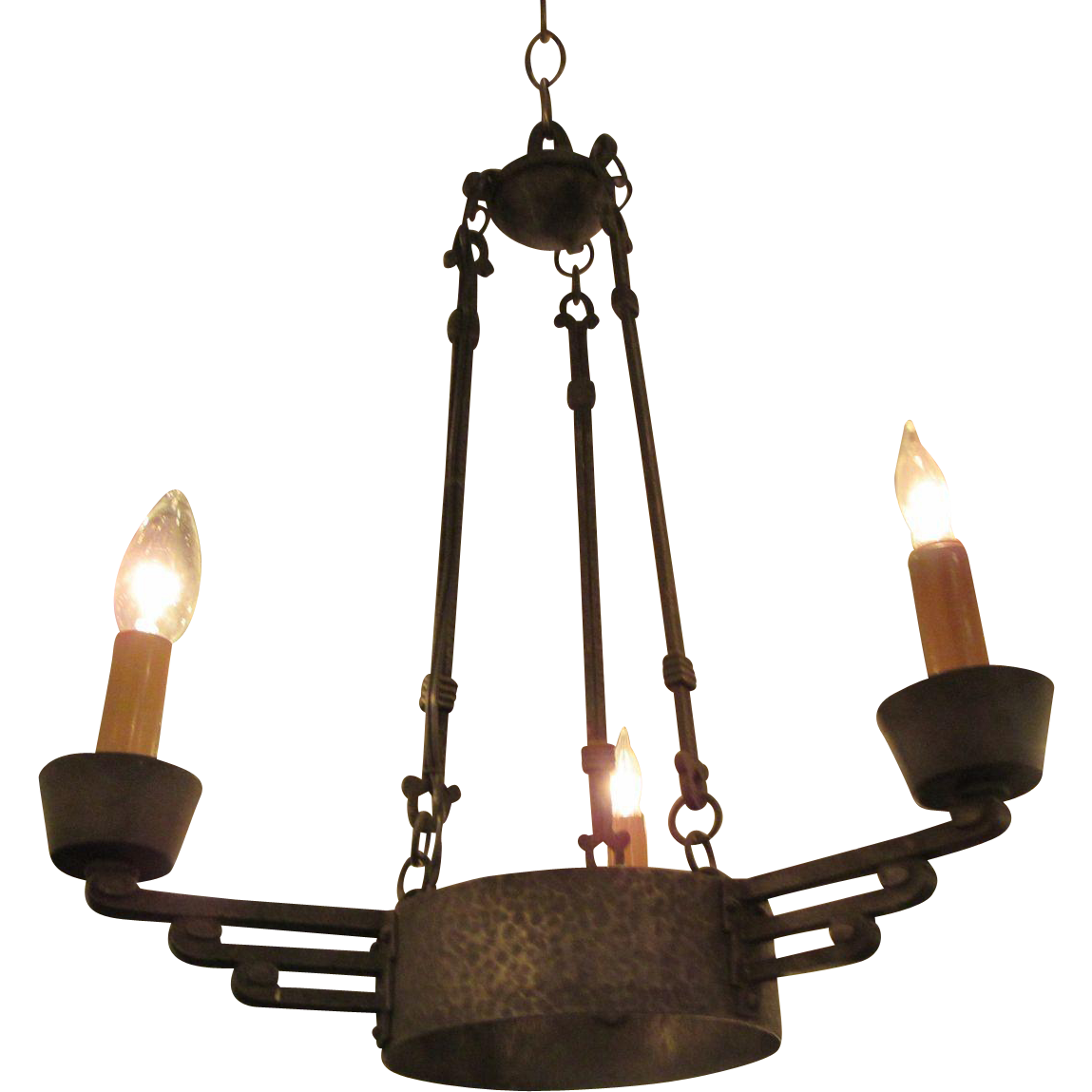Art Deco hand hammered iron chandelier light