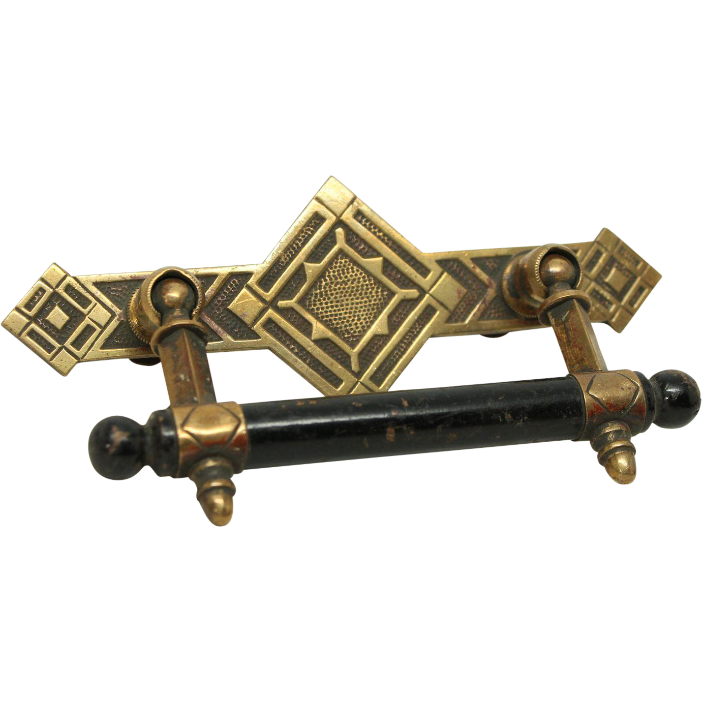 Deco drawer pull with black handle