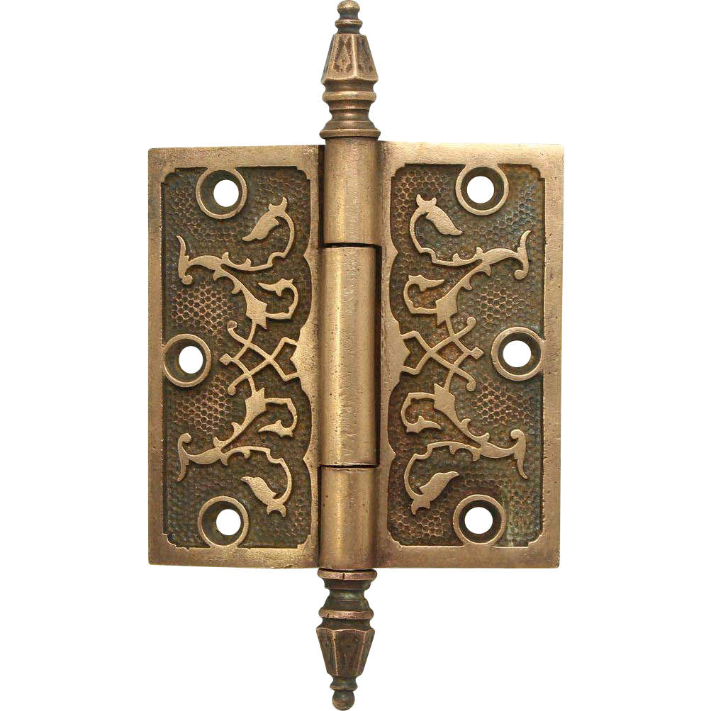 Single bronze ornate steeple tip hinge