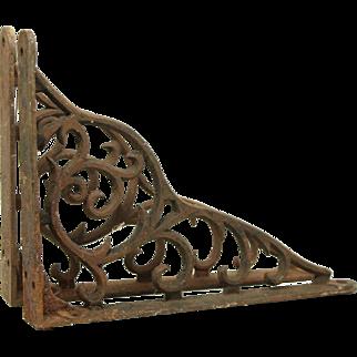 Pair of iron Victorian brackets