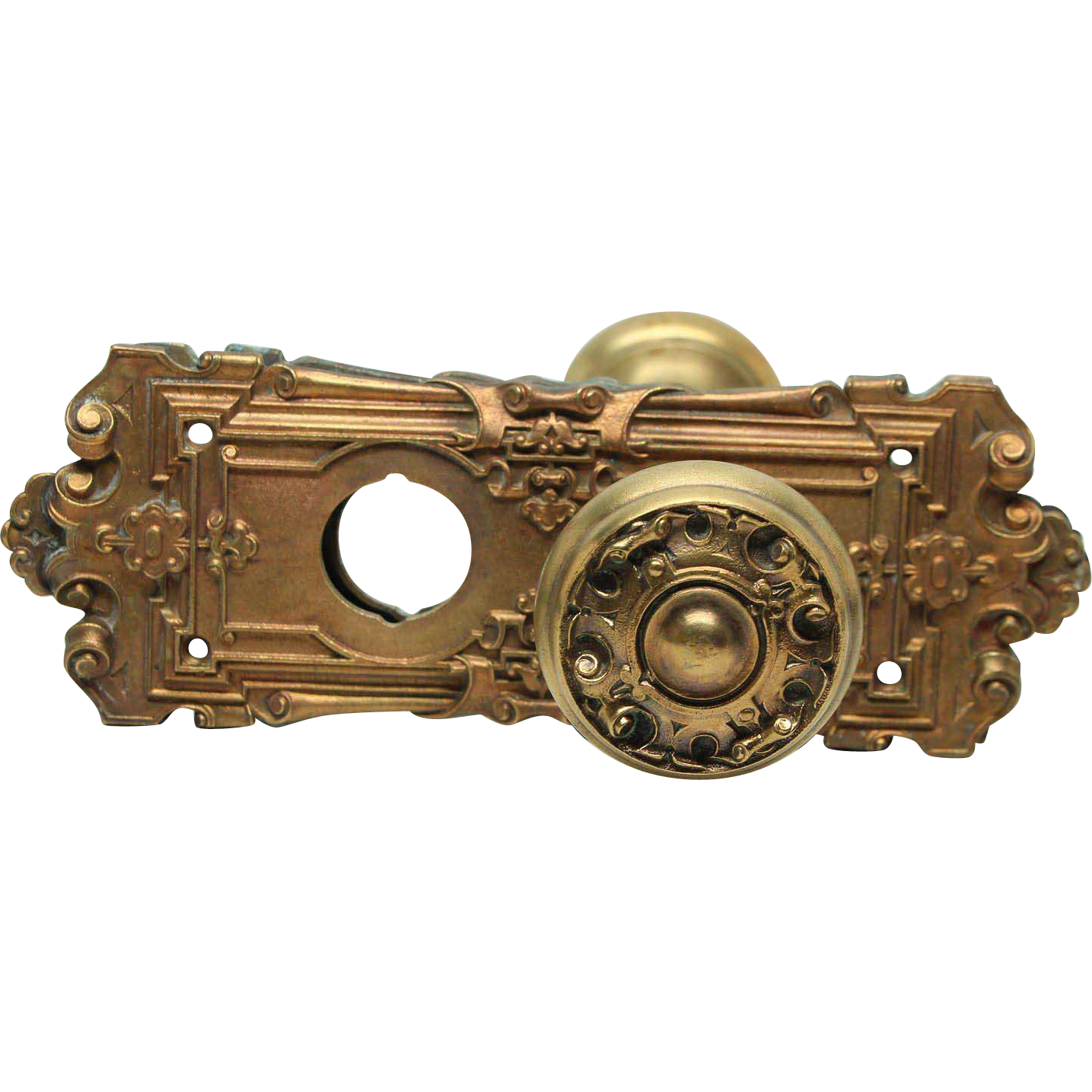 Ornate Gothic brass knob set with key hole cut out