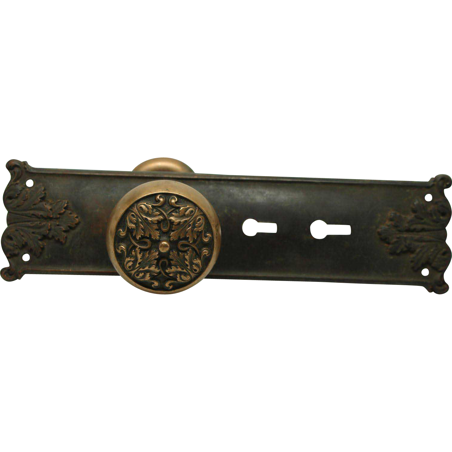 Bronze entry knob set with Mantua plate