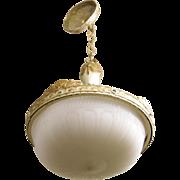 Cast glass dish globe pendant light