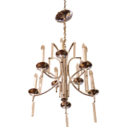 Mid Century chrome chandelier with crystal detail