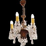 1910 Crystal chandelier with floral basket