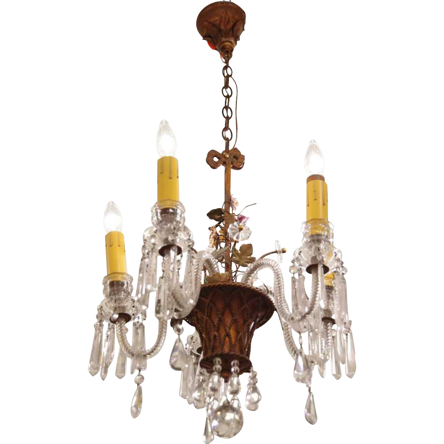 1910 Crystal chandelier with floral basket