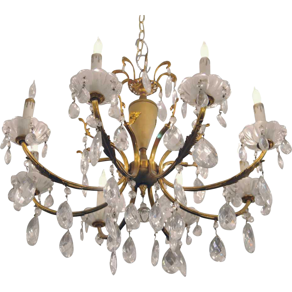 Petite crystal chandelier with gold gilt details