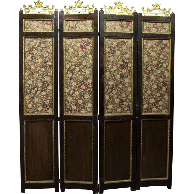Old wooden four panel floral screen divider