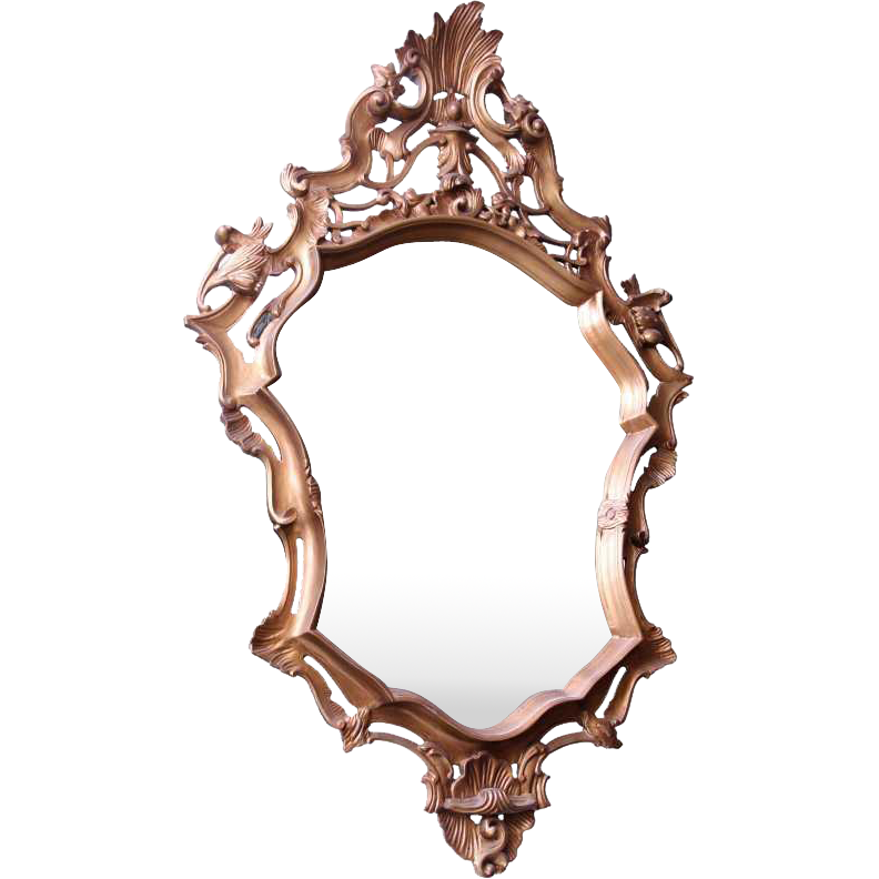 Unique gilded wood framed mirror