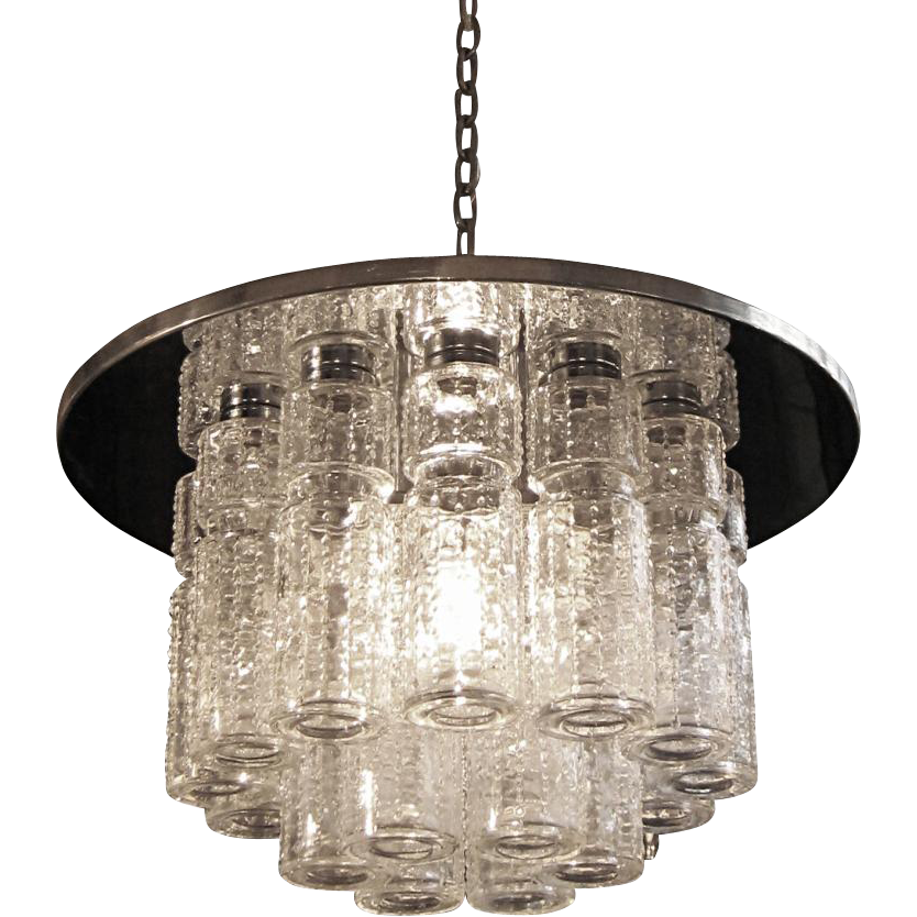 Clear crystal tube Lightolier Mid Century light fixture