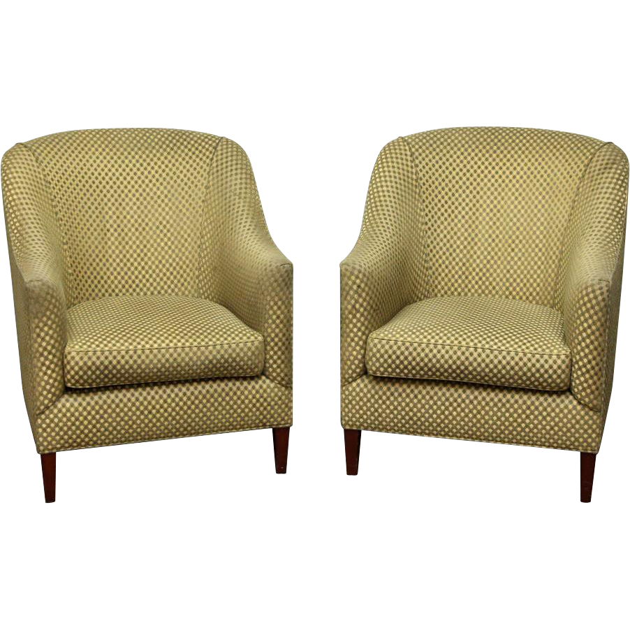 Pair of green checkered chairs