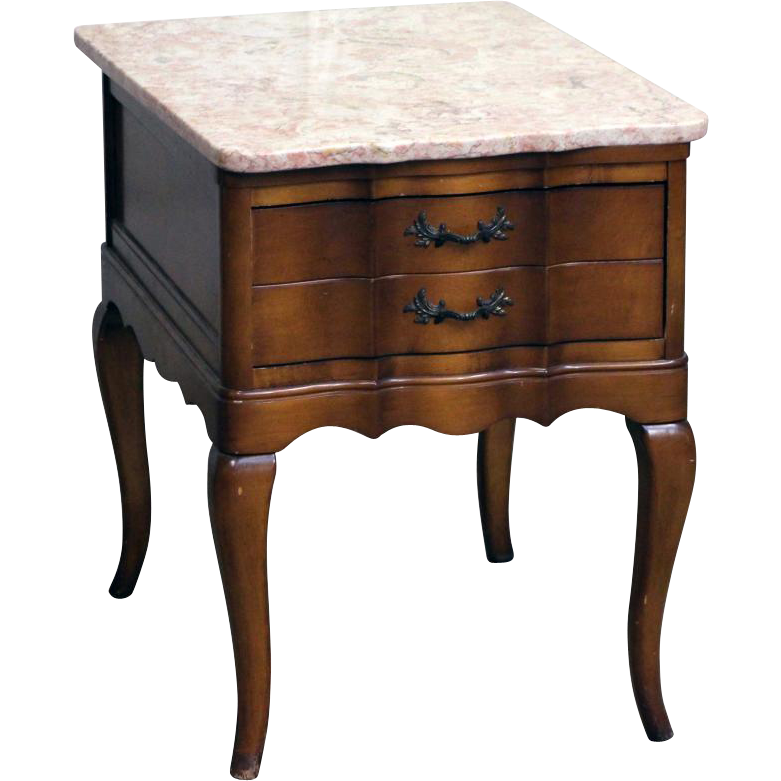 French Provincial night stand with rare rose marble top