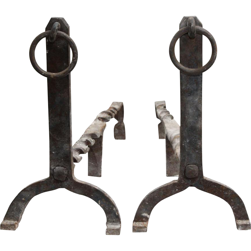 Pair of cast iron andirons with top rings