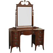 Wooden seven drawer vanity with mirror