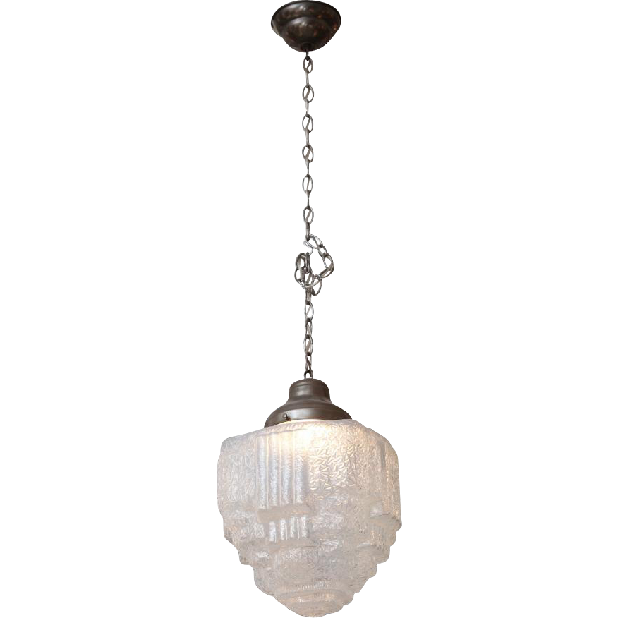 Textured cast glass Art Deco pendant light