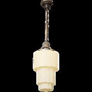 Deco three tier custard glass pendant light