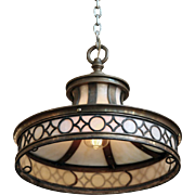 Bronze & opalescent geometric design pendant light