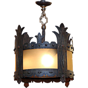 Tudor iron pendant light fixture