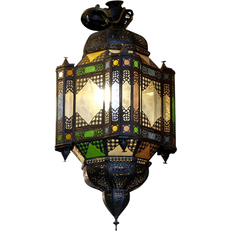 Eastern stained glass pendant lantern light