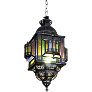 Eastern style stained glass pendant lantern