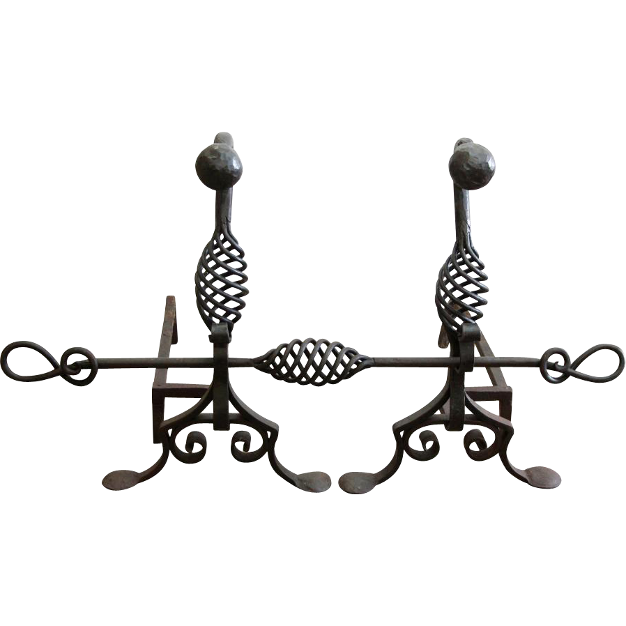 Pair of decorative Arts & Crafts forged andirons