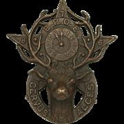 B.P.O.E. bronze deer head grave marker