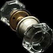 Fixed base octagon style glass knob set